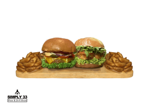 Simply 33 Offers - 2 vegan/vegetarian burgers & 2 american wedges,