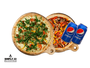 Simply 33 Offers - 2 vegan/vegetarian pizzas & 2 pepsi