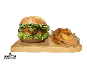Green Vegan burger + American Wedges & Dip