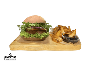 Green Vegan burger + American Wedges & BBQ Dip